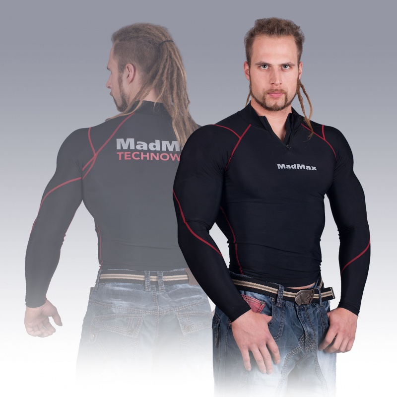 MSW-903 Compression Long Sleeve Top with Zip Red